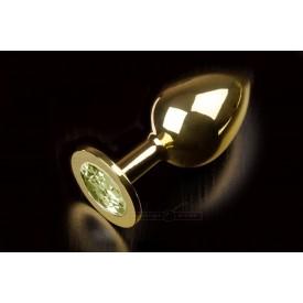 Большая золотая анальная пробка с закругленным кончиком и жёлтым кристаллом - 9 см.