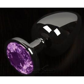 Графитовая анальная пробка с фиолетовым кристаллом - 6 см.